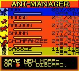 Animorphs Game Boy Color Ani-Manager