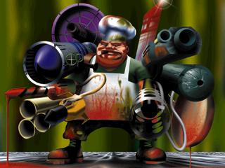 It's ox! From the credits screen of PO'ed! A chef with guns! From a crappy game! He doesn't look like the PSX Box Ox because nobody has played or cares about POed.
